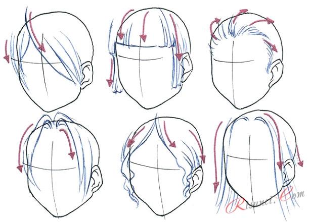 Как рисовать волосы аниме рисунки