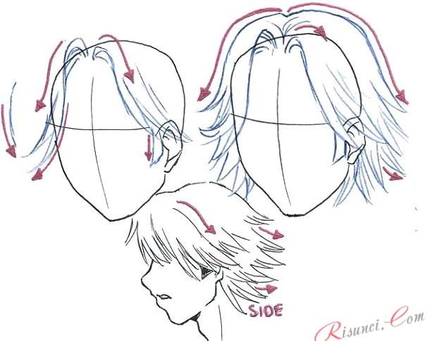 Как нарисовать волосы карандашом парней