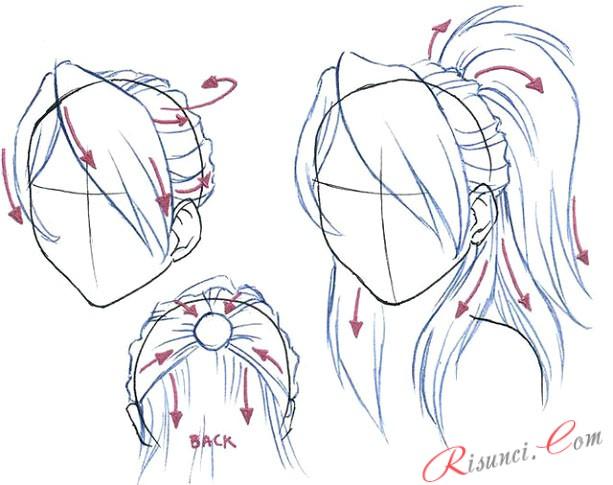 Как в аниме рисовать волосы