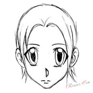 рисуем аниме лицо карандашом