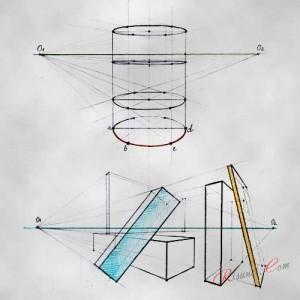 цилиндр, нарисованный в перспективе