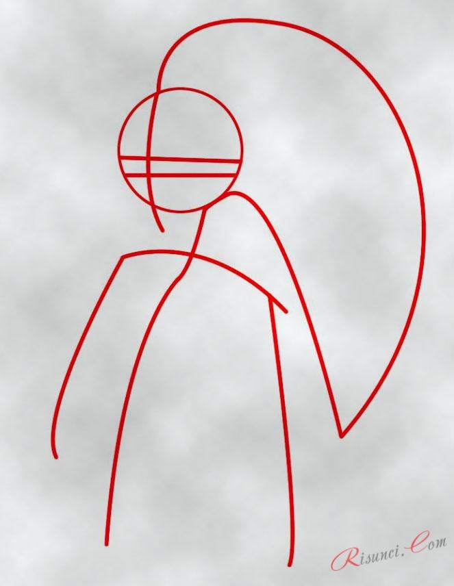 Шаг 7 . Затем рисуем волосы и форму лица ...: risunci.com/?page_id=876