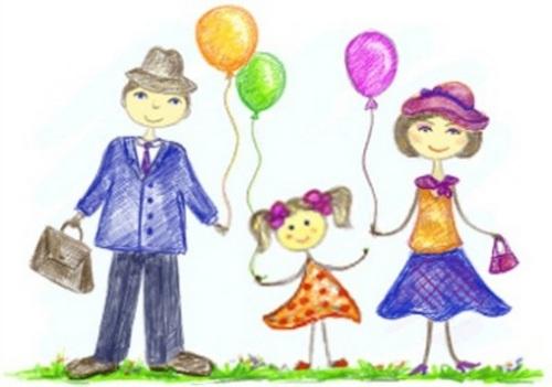 карандашный рисунок семьи