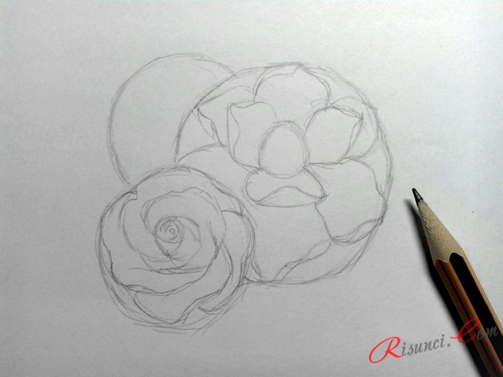 прорисуем лепестки нижнего цветка