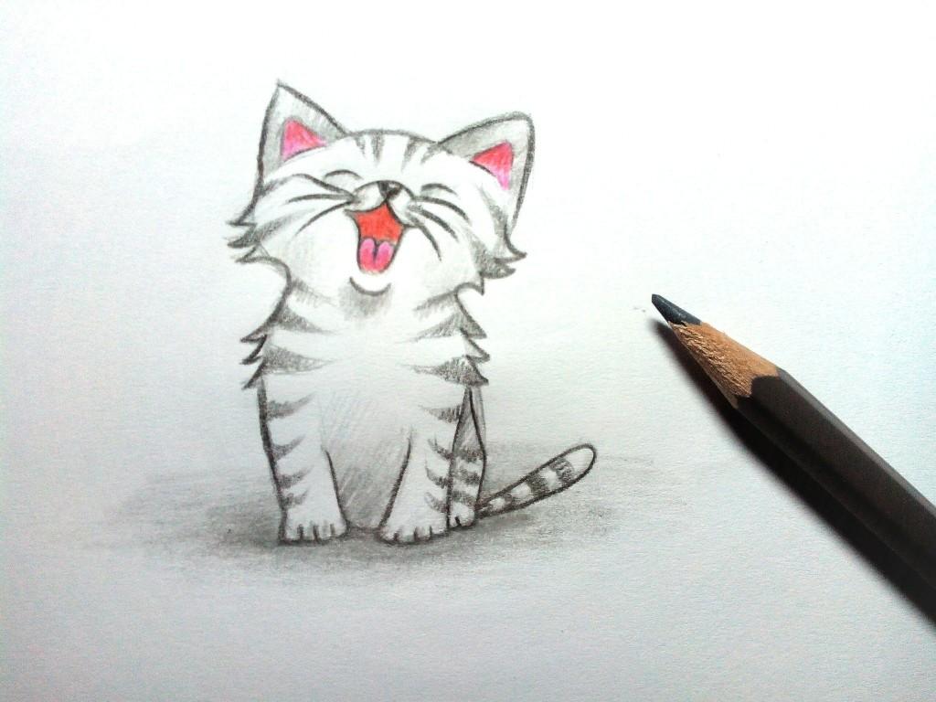 как нарисовать котенка с милыми глазками поэтапно