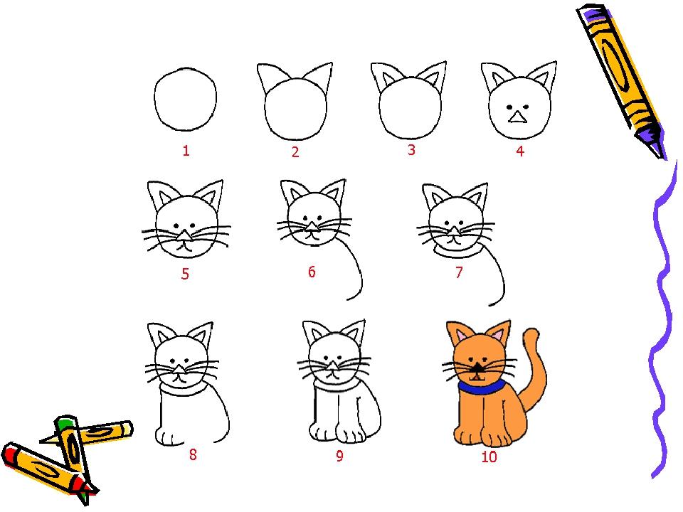 Как нарисовать кошку одну дома