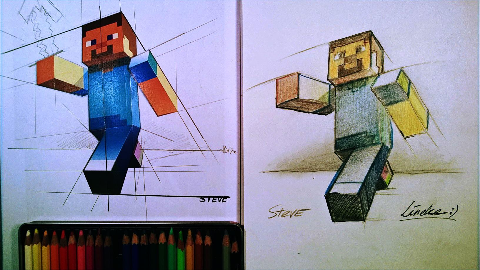 как нарисовать Стива из Майнкрафта
