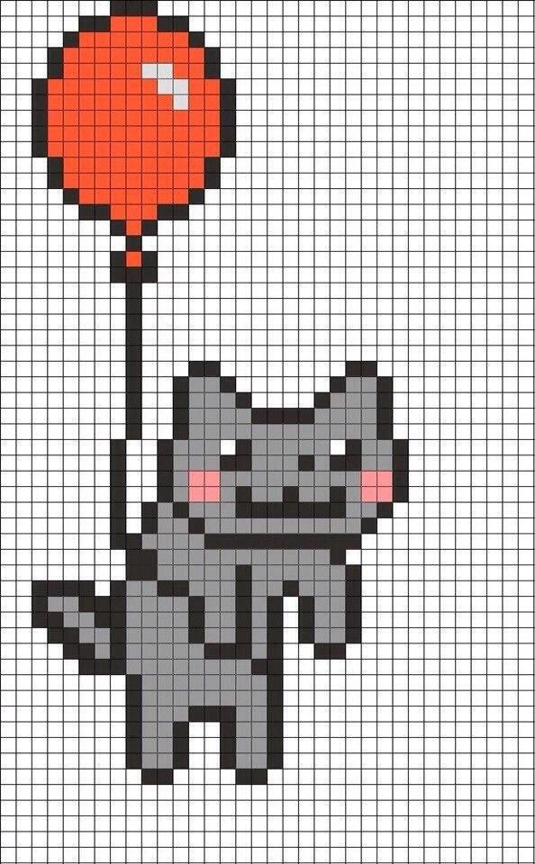 Рисунки по клеточкам котик с шариком