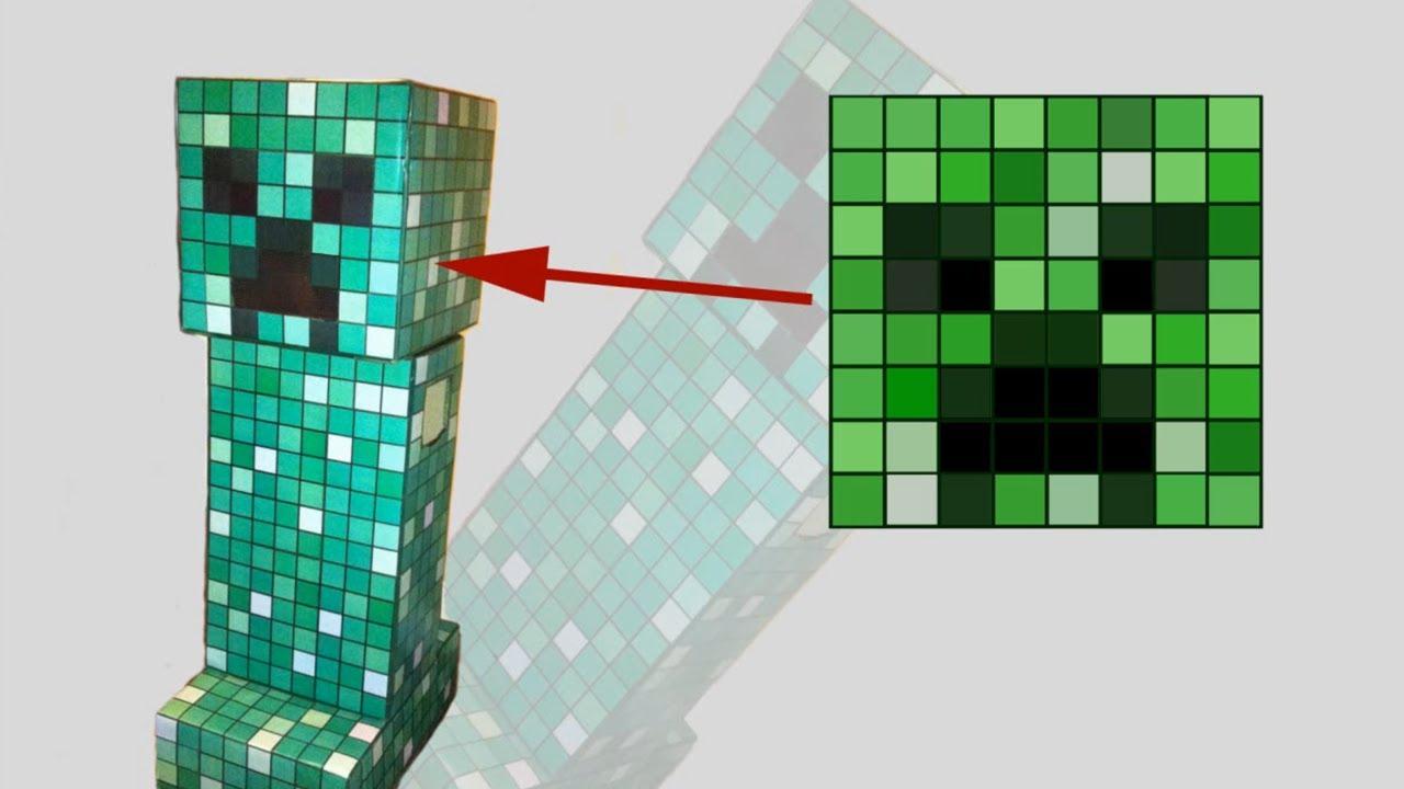 рисунки по клеточкам для мальчиковгерой Лего и Майнкрафт -Creeper2