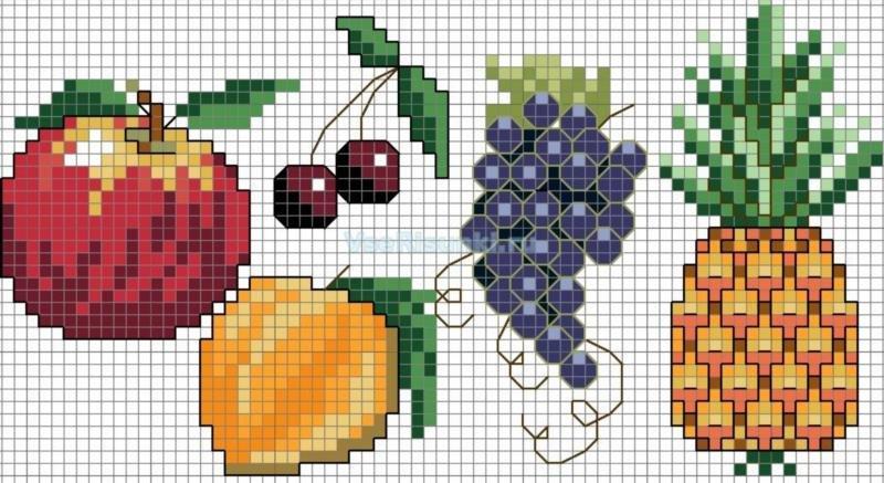рисунки по клеточкам еда фото 11