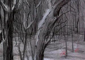 Рисунок дерева карандашами