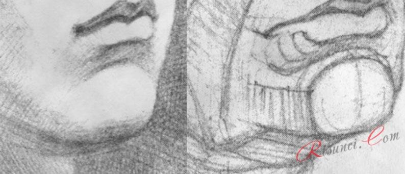 подбородок карандашом