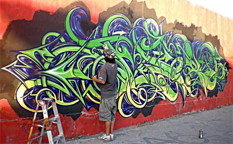 процесс рисования граффити