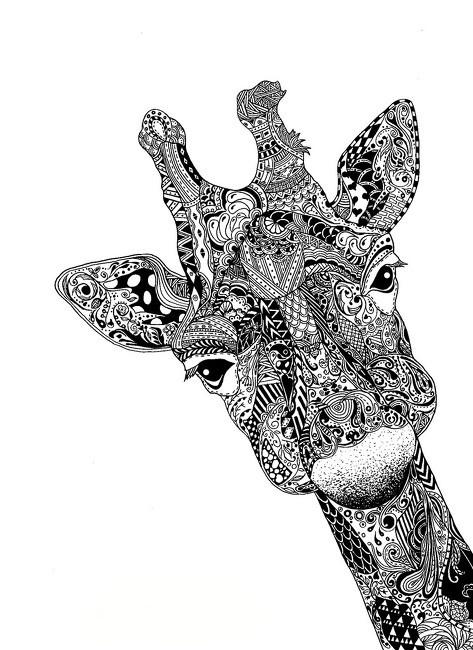 Жираф в стиле zendoodle