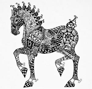 Конь в стиле зентангл