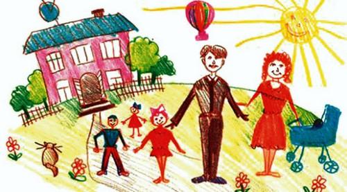 детский рисунок семьи