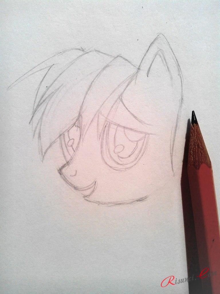 прорисуем большие глаза пони
