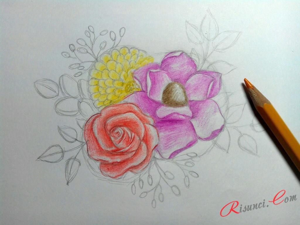 прорисуем цветок с мелкими лепестками