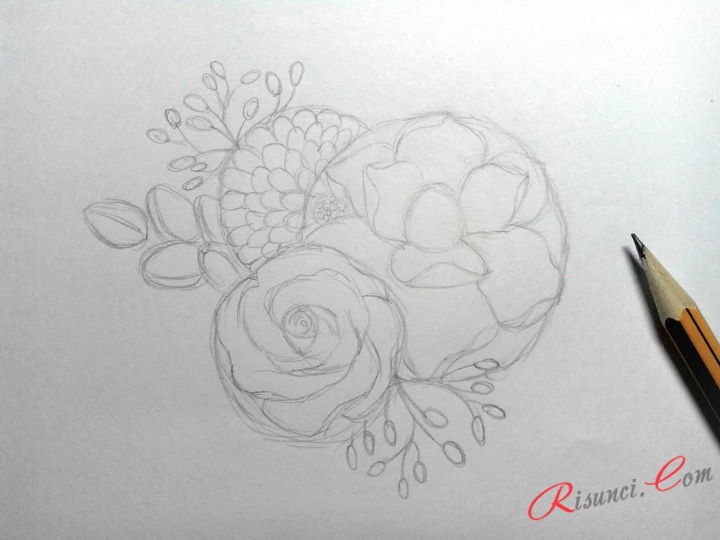 наметим веточки с мелкими ягодами