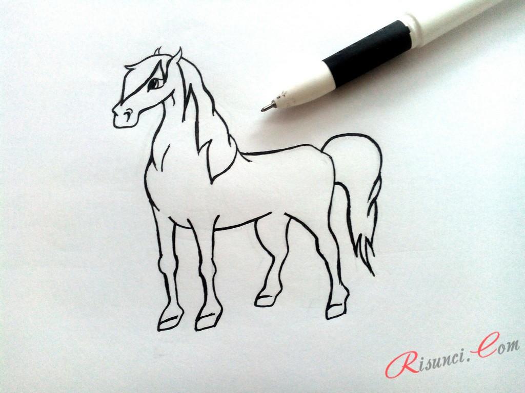 Обведем контур тела лошади