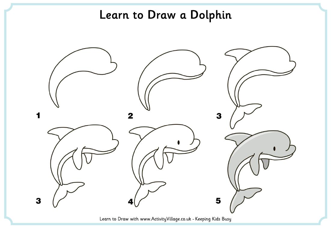 просто выполните следующие шаги по рисованию, чтобы нарисовать дельфина поэтапно для детей фото 2