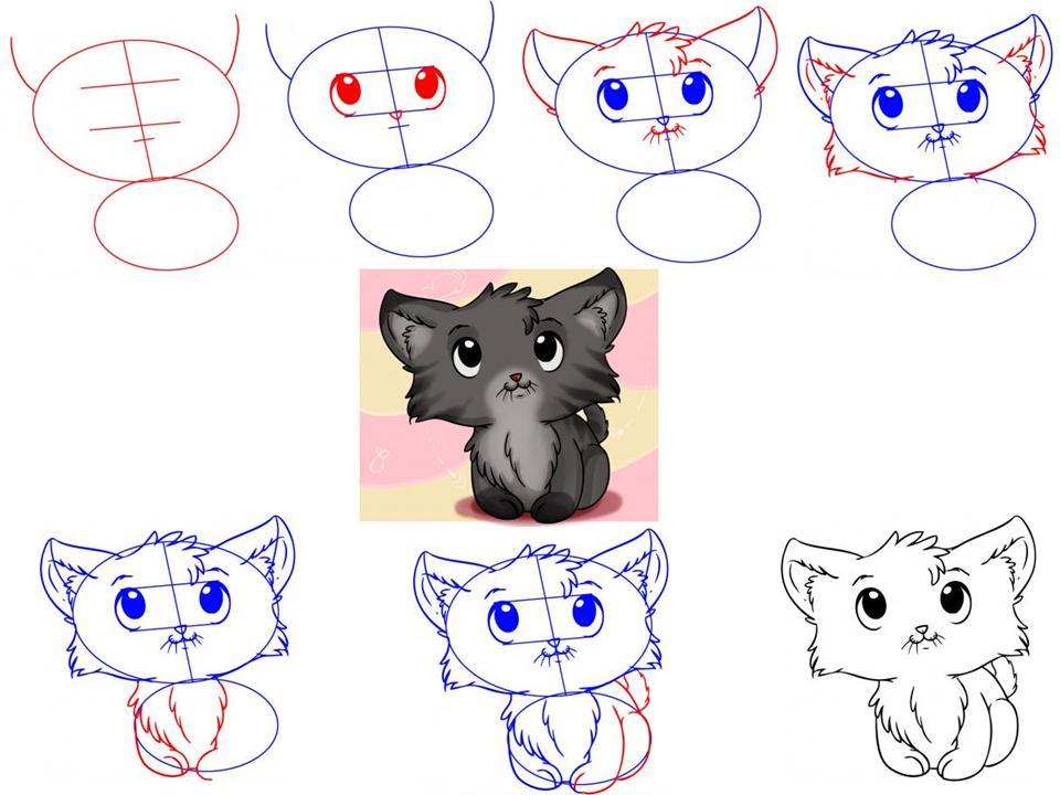 как нарисовать котенка с милыми глазами, поэтапно на фото 3