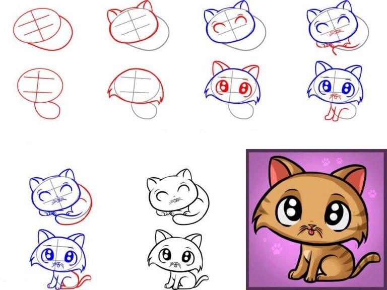 как нарисовать котенка с милыми глазами, поэтапно на фото 4