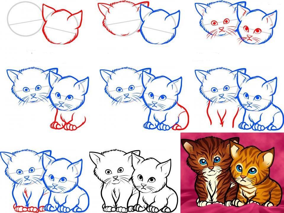 как нарисовать котенка с милыми глазами, поэтапно на фото 5
