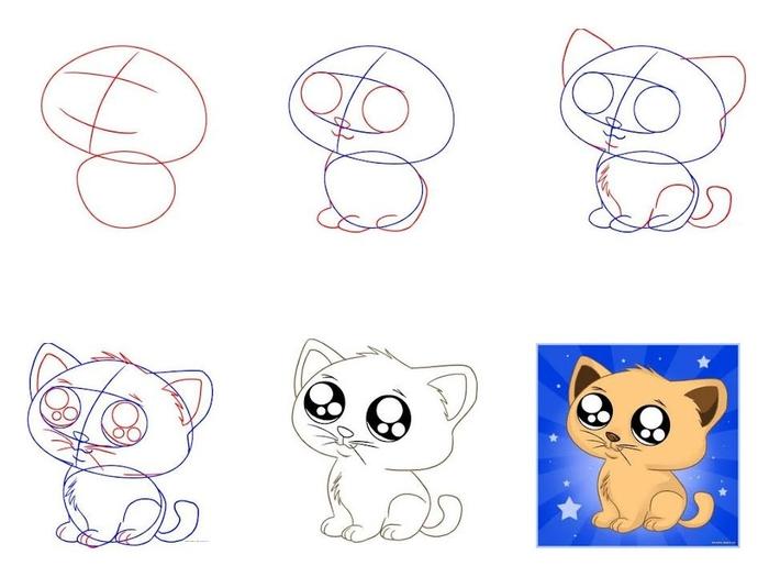 как нарисовать мордочку котенка с милыми глазами, фото пошагово 1