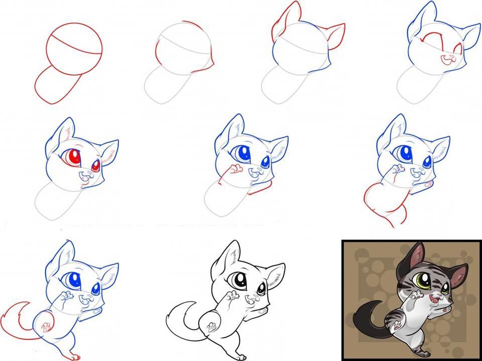 как нарисовать мордочку котенка с милыми глазами, фото пошагово 2
