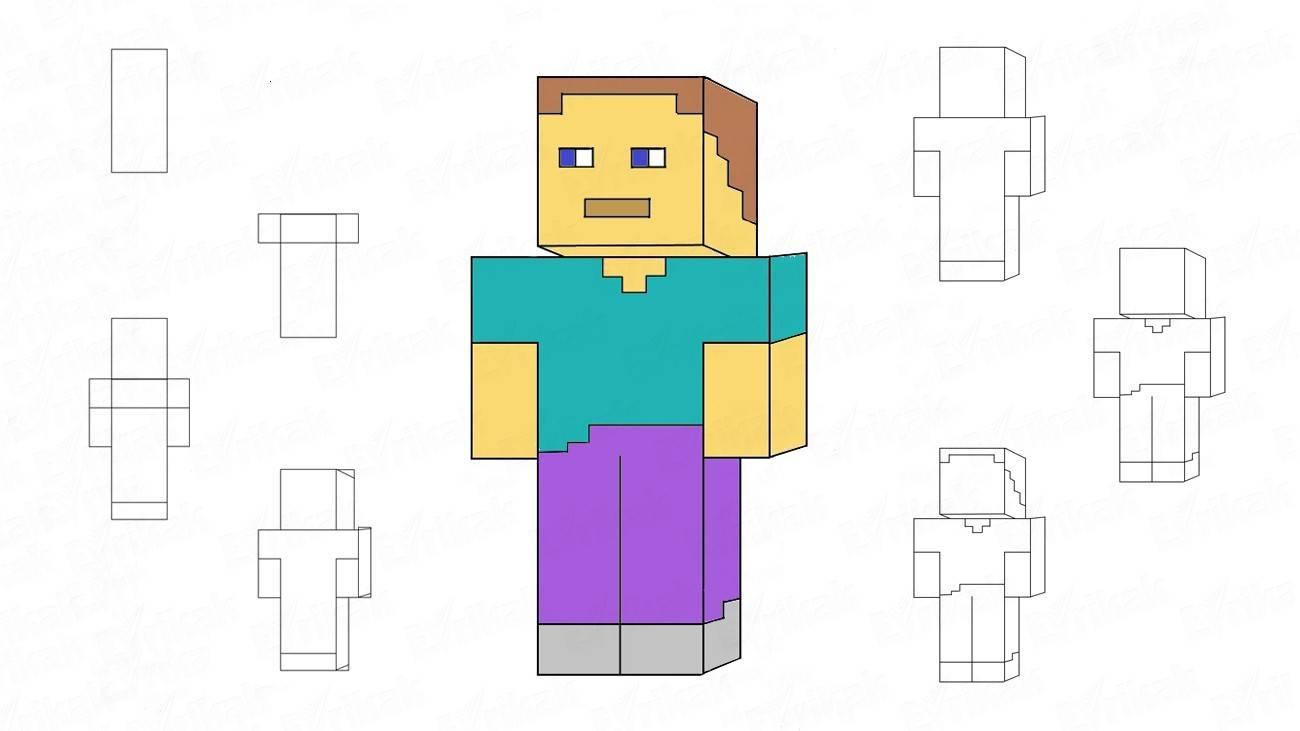 учимся пошагово рисовать Стива из Майнкрафта фото 1