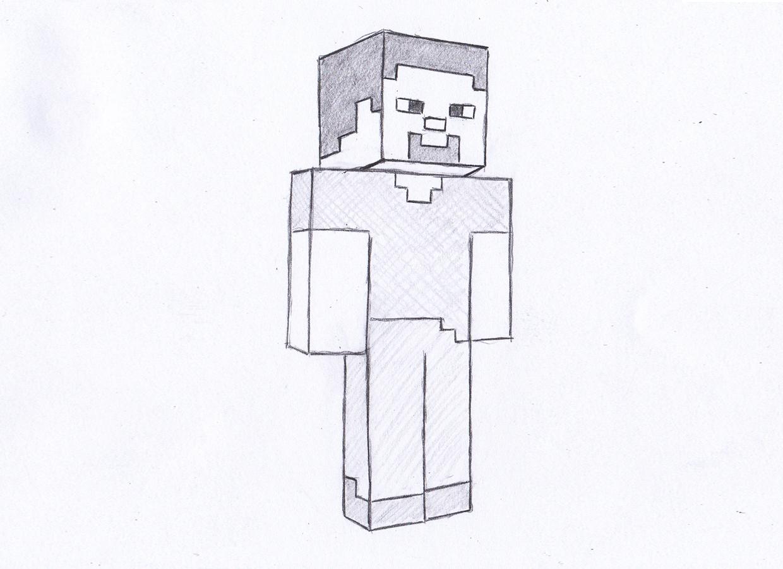 учимся пошагово рисовать Стива из Майнкрафта фото 3