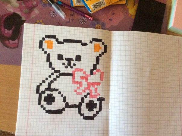 Картинки по клеточкам в тетради для личного дневника для девочек