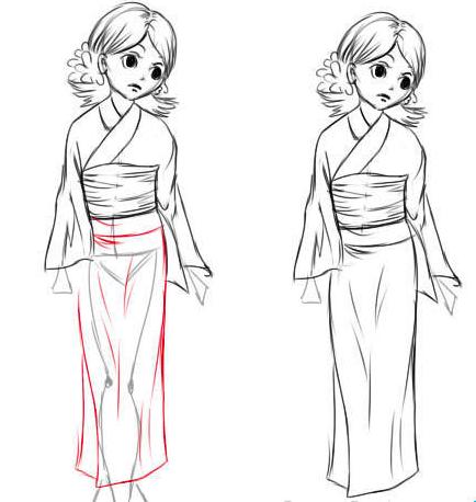 как нарисовать японку в кимоно по другому? Решение для учеников 4 класса на фото 4