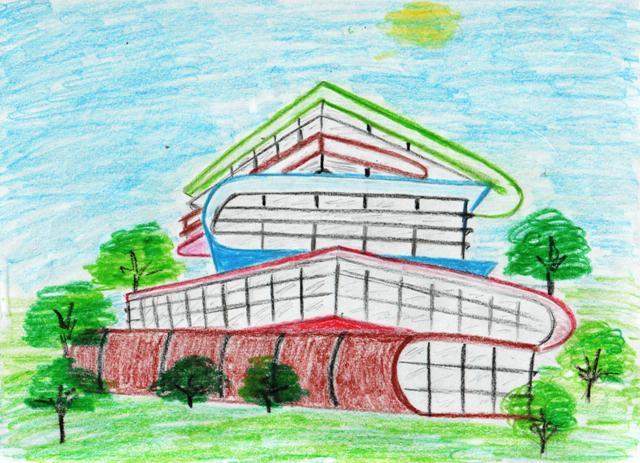 дом будущего - рисунок карандашом на фото 1