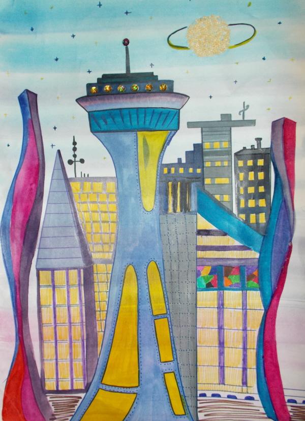 Картинка рисунок мой город в будущем