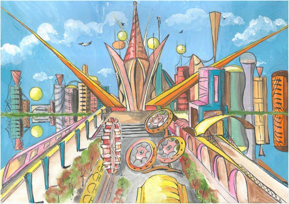 нарисованные дома будущего детьми, рисунки карандашом на фото 9