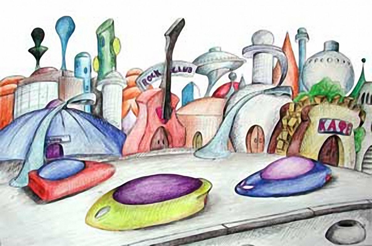 Город будущего рисунки карандашом легкие и красивые детям