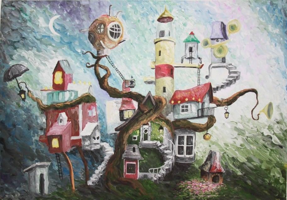 нарисованные дома будущего детьми, рисунки карандашом на фото 1