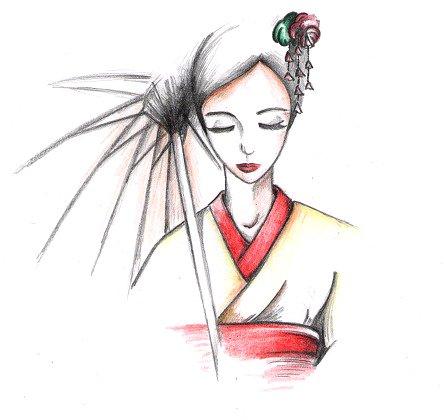 рисунки японки в кимоно нарисованные детьми, фото 1
