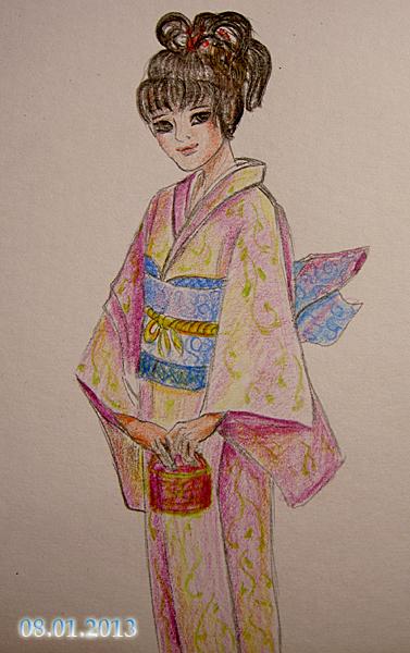 рисунки японки в кимоно нарисованные детьми, фото 2