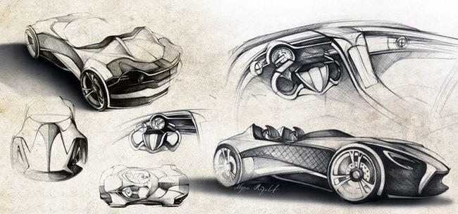 машина будущего рисунок карандашом