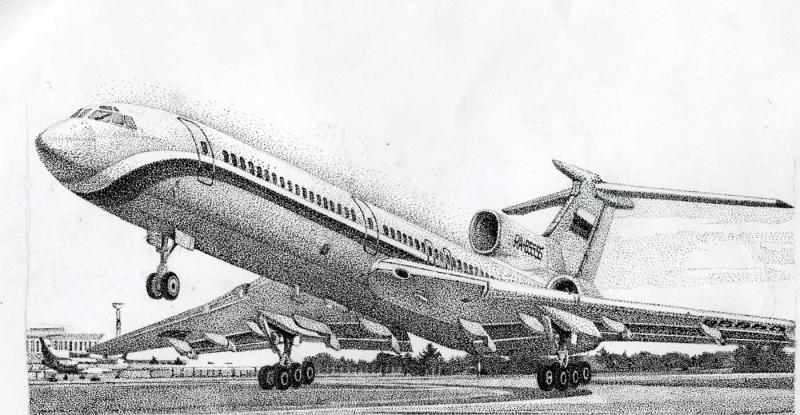 самолет рисунок карандашом