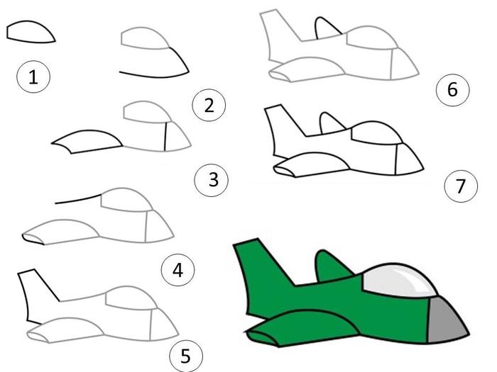 самые простые рисунки самолетов карандашом фото 3