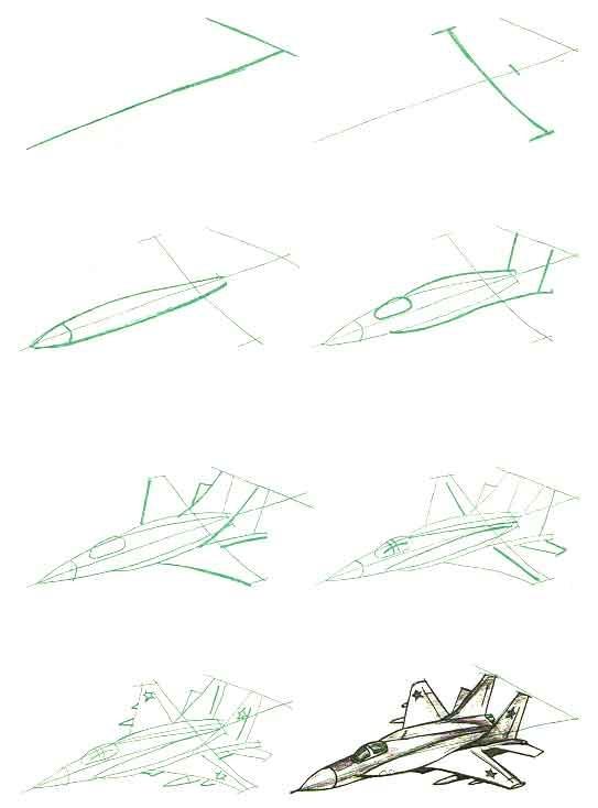военный самолет рисунок карандашом фото 3
