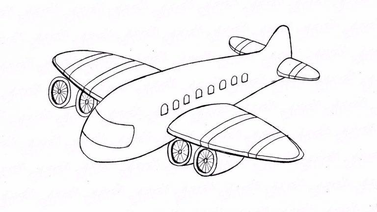 исунок самолета карандашом для детей для срисовки + фото уроки 2
