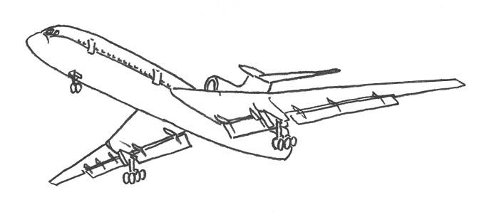 исунок самолета карандашом для детей для срисовки + фото уроки 3