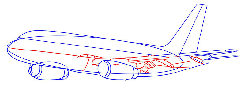 пассажирский самолет рисунок карандашом фото 5