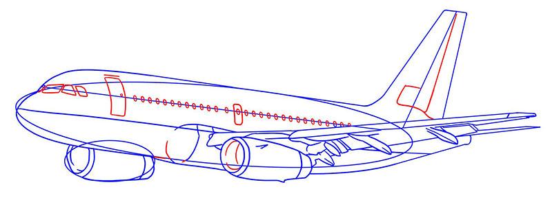пассажирский самолет рисунок карандашом фото 6