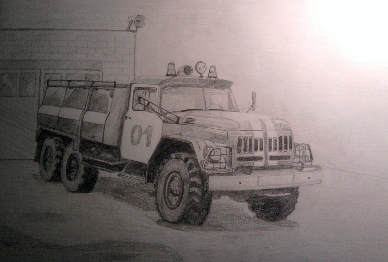 пожарная машина рисунок карандашом